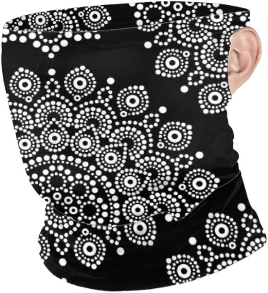 CDMT-XU1 Bufanda de mascarilla a prueba de viento Hombres Mujeres pintura de puntos monocromo de patrones sin fisuras vector Cuello polaina Colgante Oreja Mascarilla protección