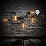 Injuicy Lighting Loft Vintage Wrought Iron Water Pipe Edison Wall Lights Fixtures Retro Industrial Rustic Steampunk Metal Wall Sconces Balcony Cafe Bar Aisle Max 200W With 5 Lights 220V Copper Finish