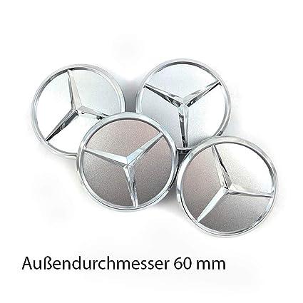 Nabenkappen for Mercedes-Benz Tapacubos (4 Unidades, 60 mm), diseño de Estrella, Color Gris