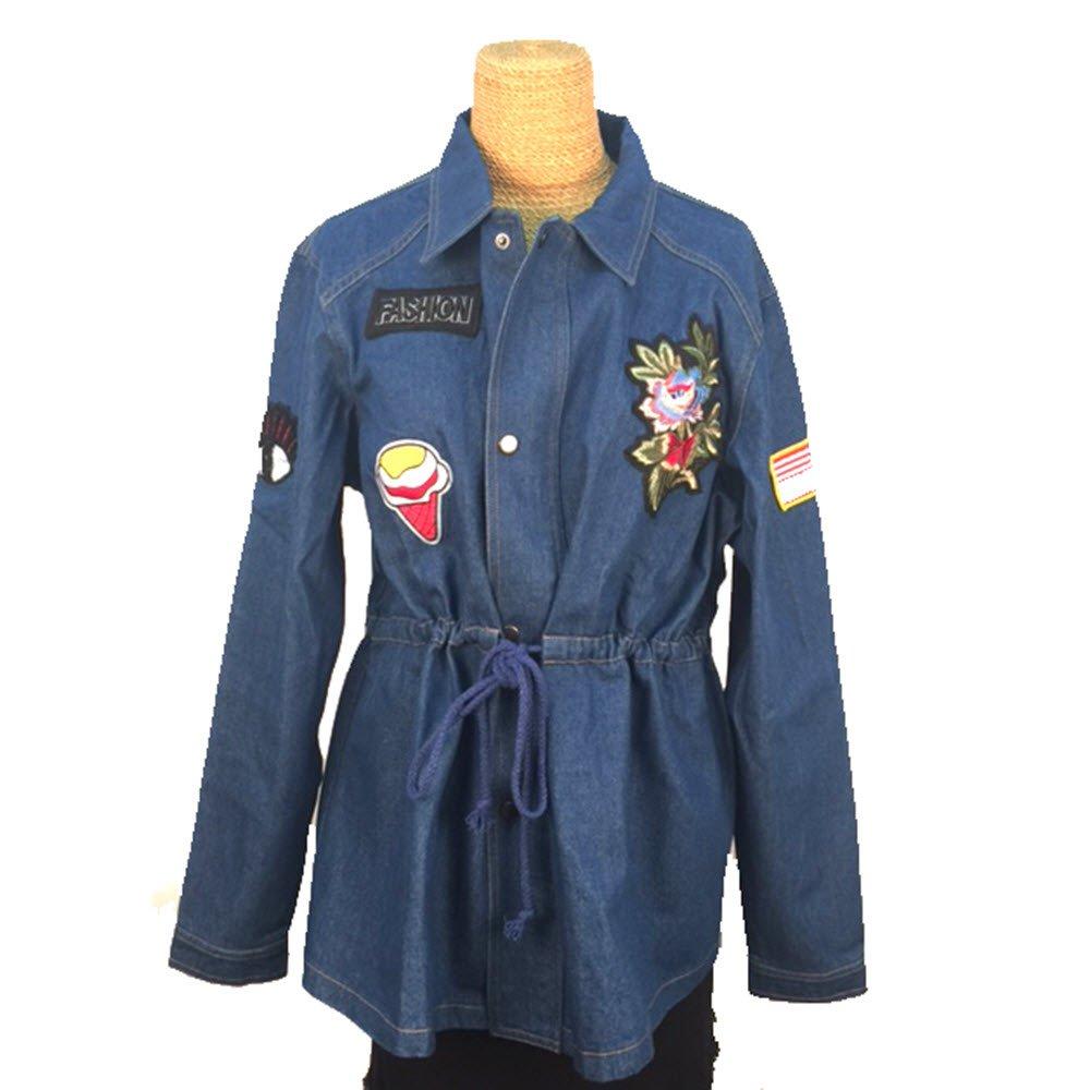 Treska Bohemian Denim Jacket Drawstring Waist Patches