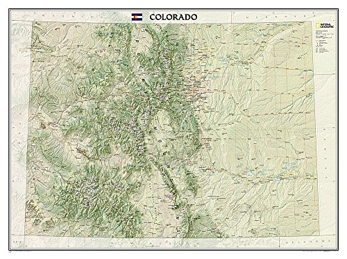National Geographic: Colorado Wall Map - Laminated (40.5 x 30.25 inches) (National Geographic Reference - Relief Map Colorado Raised
