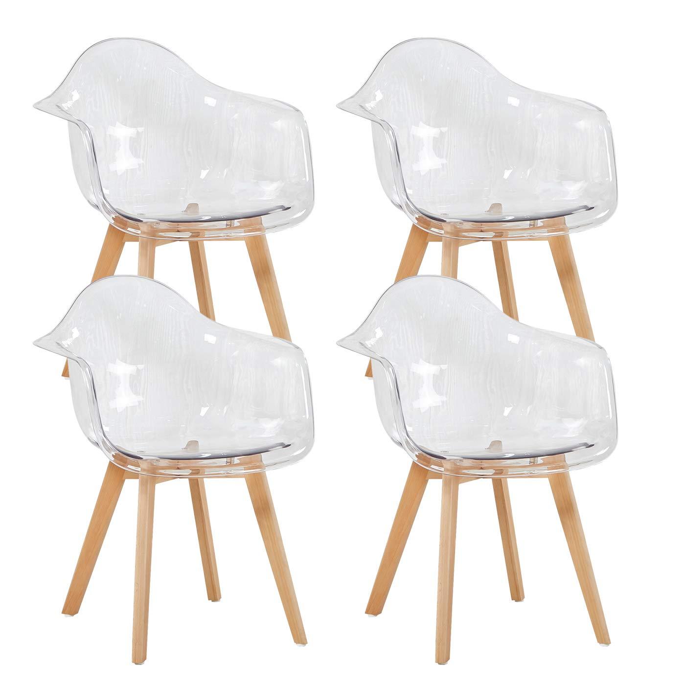 4er EGGREE 4er Set Transparent Sessel Skandinavisch Esszimmerstuhl Modern Wohnzimmerstuhl