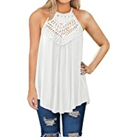 0391d2e9398 MIHOLL Womens Summer Casual Sleeveless Tops Lace Flowy Loose Shirts Tank  Tops