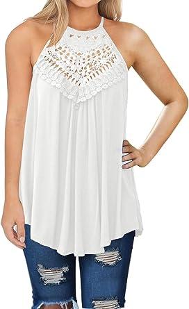 GOWOM Women Blouse Print Asymmetrical Tank Top Casual Loose Sleeveless Vest T-Shirt