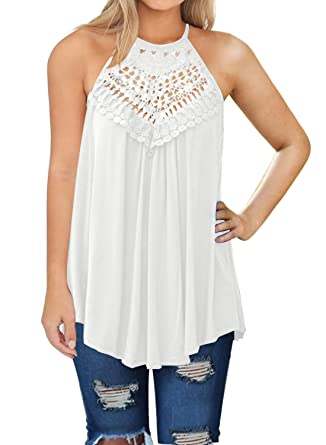 3966577e7dacb5 MIHOLL Womens Casual Sleeveless Tunics Lace Flowy Loose Tunic Tank Tops ( White