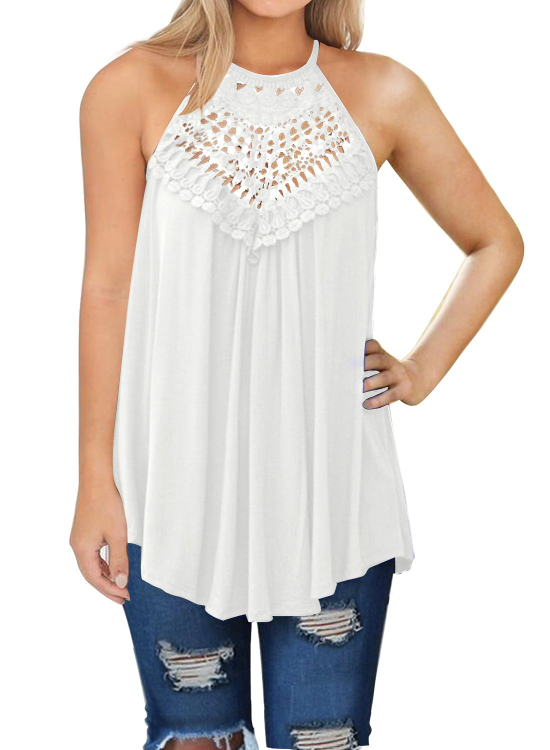 MIHOLL Women's Sleeveless Shirts Summer Tops Lace Casual Tank Tops (White, Medium)