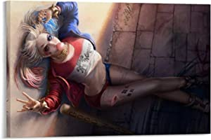 YuFeng Art Inn Modern Wall Poster Art Print Oil Painting on Canvas Home Decor Wall Decoration Canvas Art Harley Quinn Fan Suicide Squad 2016 (Unframed-No Framed,12x18inch)