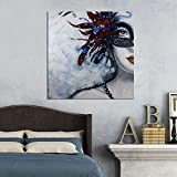 ARTLAND 28x28-inch 'Mask Dance' Gallery-wrapped Hand-painted Canvas Woman Wall Art