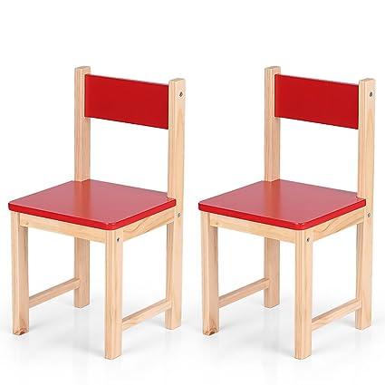 Lote de 2 pequeñas sillas rojo de madera para niños, silla ...