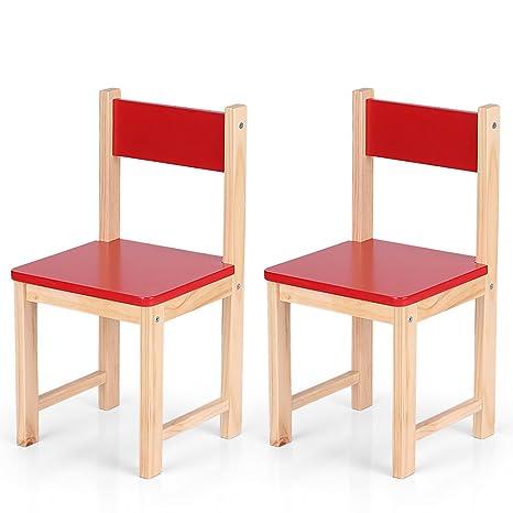 Lote de 2 pequeñas sillas rojo de madera para niños, silla para niños, –