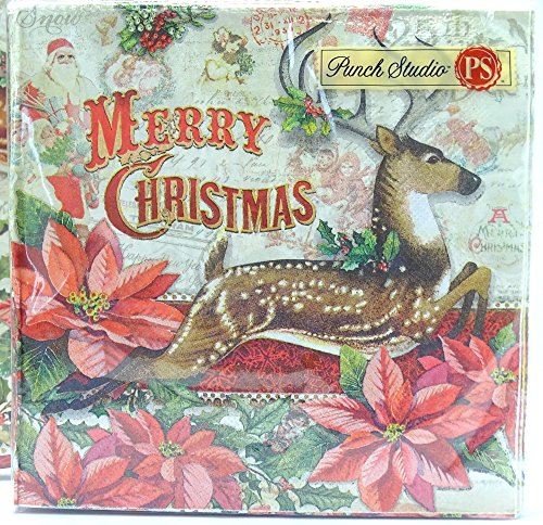 40 Ct Punch Studio Leaping Reindeer Christmas Luncheon Napkins, Victorian Holiday Deer Stag