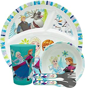 Zak Designs Disney Frozen Kids Dinnerware 5 Piece Set Includes Plate, Bowl, Tumbler and Utensil Tableware, Non-BPA Made of Durable Material and Perfect for Kids