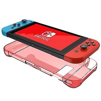 Nintendo Switch Funda Mothca Cristal Claro Duro Carcasa Diseño de 3 Segmentos Transparente Shock- Absorción Anti-Arañazos Borrar Espalda Protectora ...