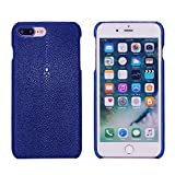Luxury Case For iPhone 8 Plus and 7 Plus (5,5)'' Hand Made from Genuine Stingray Fish Skin, Premium Cover by Trop Saint - Blue