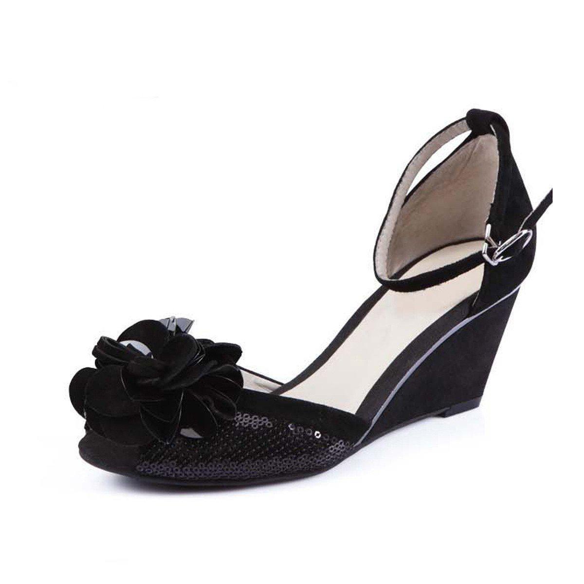 GTVERNH comfort scarpe da donna Slope con fiore sandali sandali sandali estivi 7 cm tacco alto pesce bocca nero benda, Nero, Thirty-five 719001