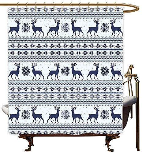 SKDSArts Shower Curtains for Bathroom with Sayings Nordic,Pixel Art Style Christmas Pattern with Reindeer and Snowflake Motifs,Dark Blue Pale Blue White,W69 x L72,Shower Curtain for Kids]()