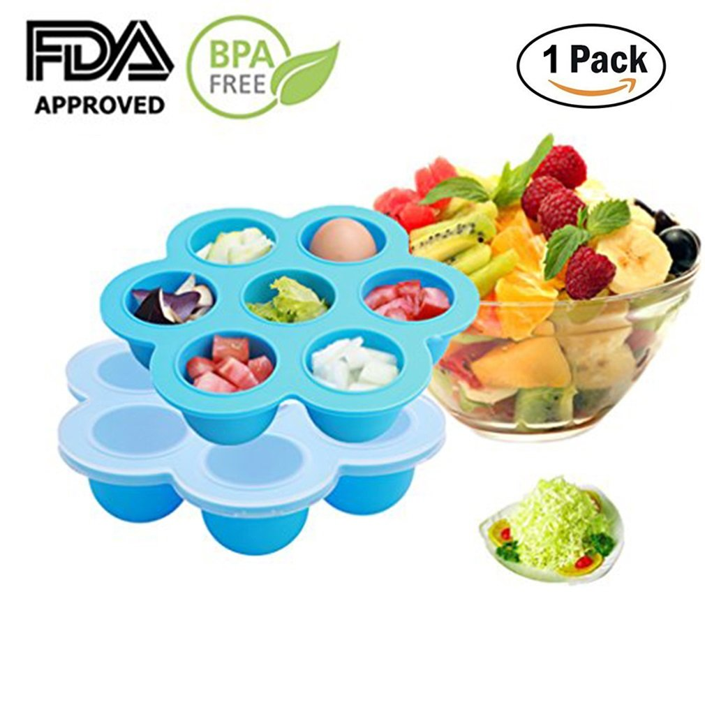 EH-LIFE Baby Food Freezer Tray Food Storage Container with Clip-on Lid, BPA Free & FDA Approved, For Homemade Baby Food, Vegetable & Fruit Purees, Ice Cube, Pudding, Blue by EH-LIFE   B01HV6M78I