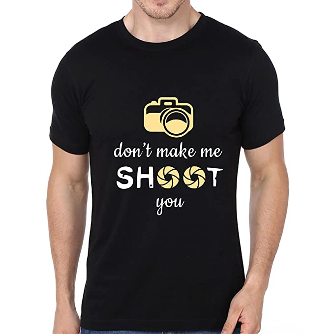 d2161f2b413 Atrangi Store Mens Cotton Half Sleeve Photography Quote Printed T-Shirts  (Black Small)
