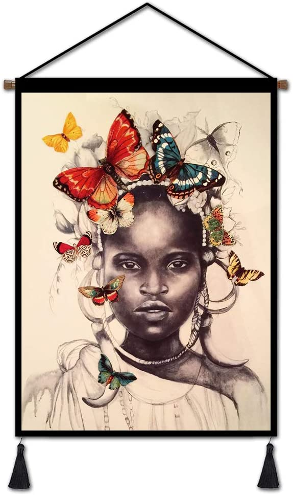 """Vintage Hanging Poster African Girl with Butterflies Canvas Prints Wall Art, African Lady Oil Painting Prints Tapestry for Home Dorm Office Decor 18""""x26"""""""