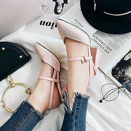 De Mujeres Las La Talones Las Bloque Cómodos Traseras Manera Las De De Zapatos Honda Señoras Bombas Pink Los Altos BHHqn5