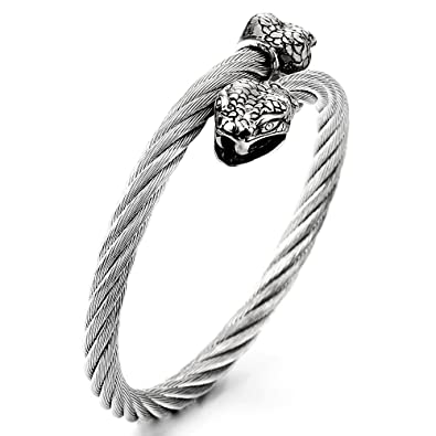 bas prix 3b63b d8ab0 COOLSTEELANDBEYOND Homme Serpent Bracelet - Acier Inoxydable ...