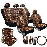 girl car seat covers full set - OxGord 17pc Cheetah Seat Cover Carpet Floor Mat Set for Car, Truck, Van, SUV - Orange Brown