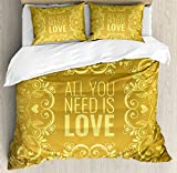Gold Mandala Duvet Cover Set Queen Size by Ambesonne, Romantic Floral Round Figures Hearts Quote In Love Valentine's Day Theme Doodle, Decorative 3 Piece Bedding Set with 2 Pillow Shams, Gold