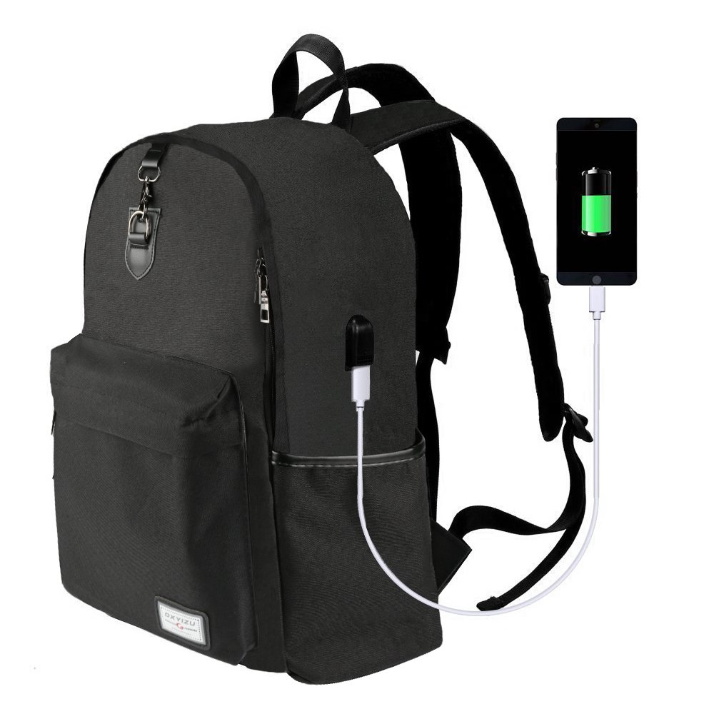 good Laptop Backpack-ONSON Laptop/Notebook Backpack with USB Charging Port Water Resistant Backpack School Bookbag for College Travel Backpack,17 inch backpack-Black