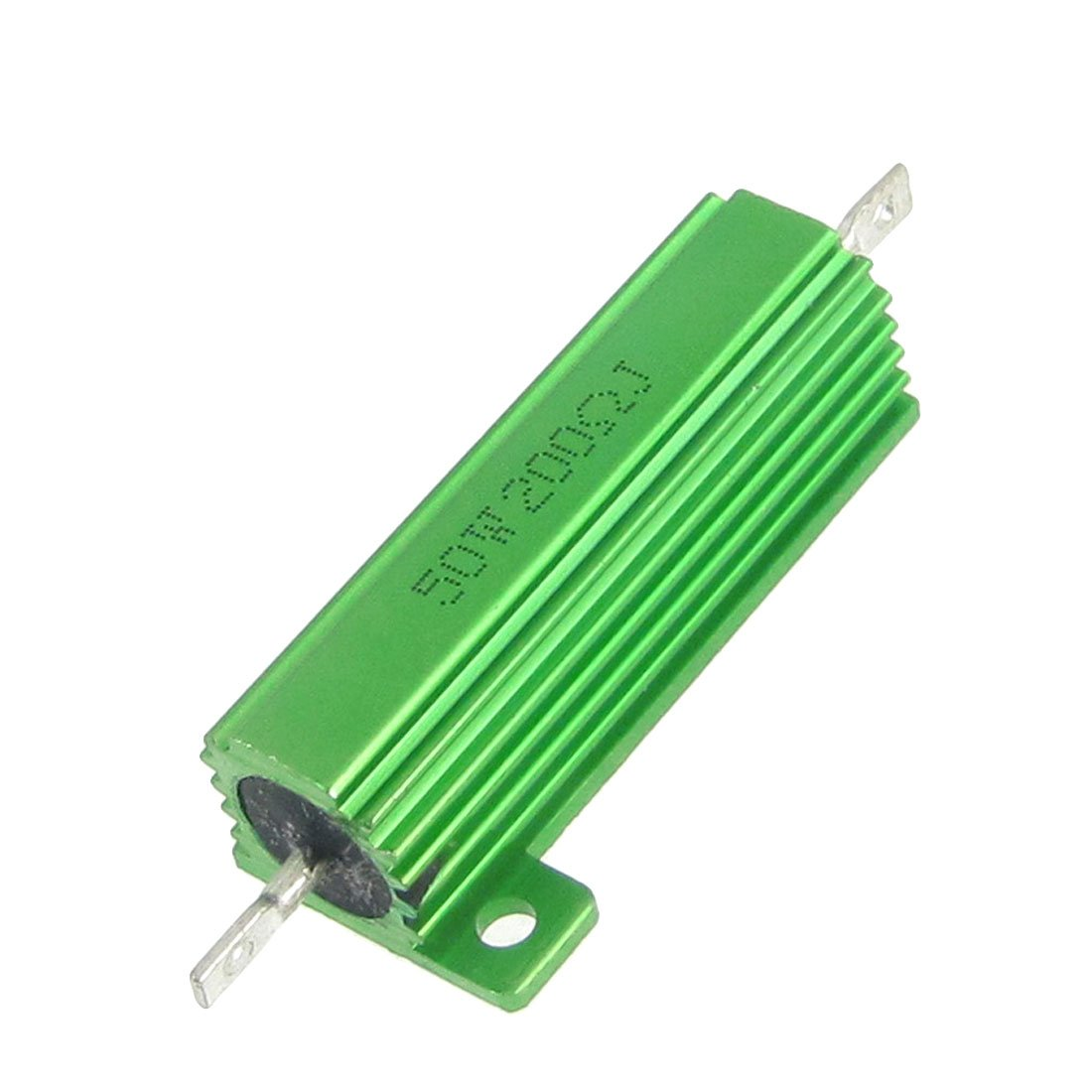 Set of 2 Pieces Sourcingmap a12051100ux0377 Green Aluminum Housed Wire Wound 50 Watt 5/% 200 Ohm Resistors Resistance 2 Pcs Multi-Colour