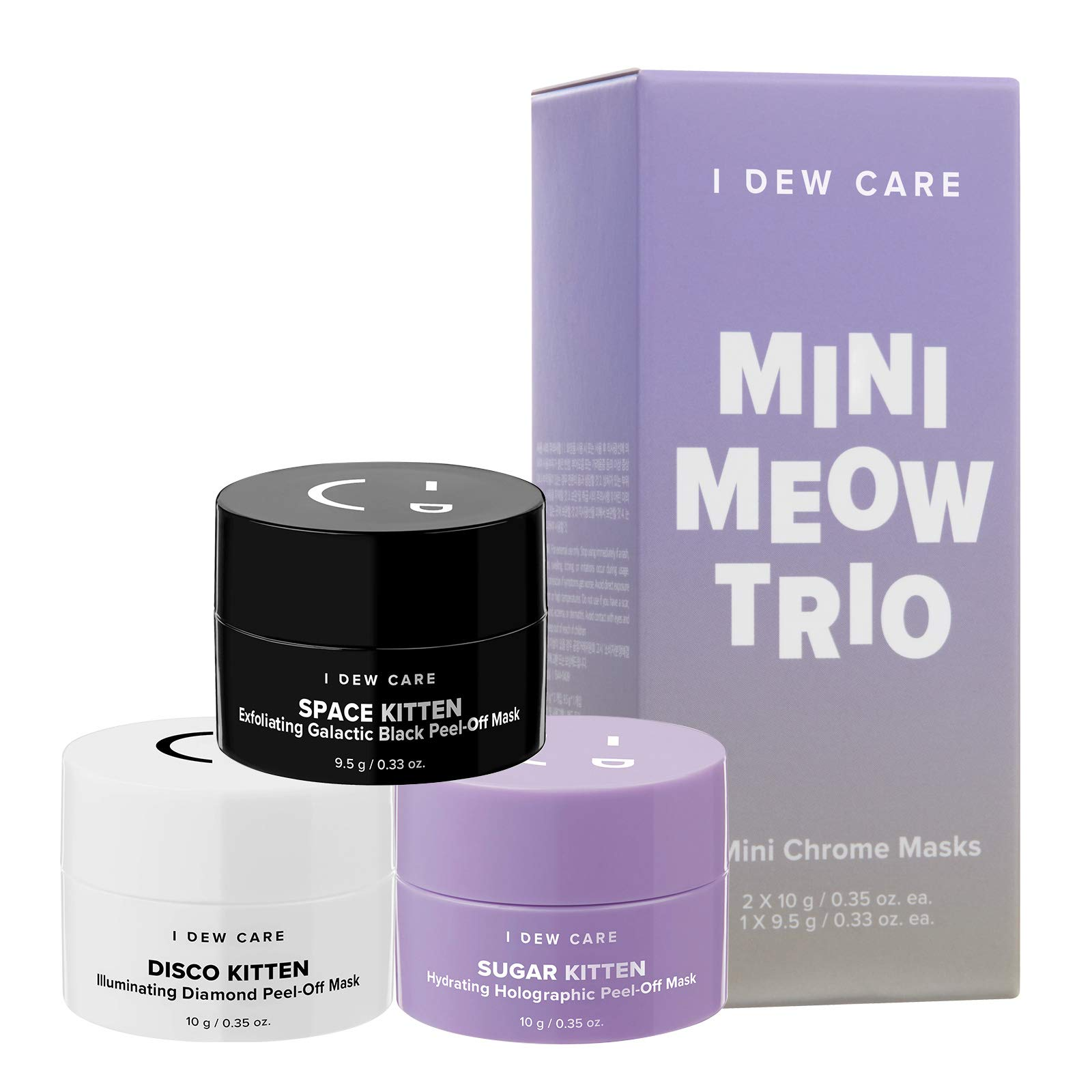 I DEW CARE Mini Meow Trio | Peel Off Face Mask Set: Hydrating Mask, Illuminating Mask, Exfoliating Mask | Korean Skincare, Facial Treatment, Cruelty-Free, Gluten-Free, Paraben-Free