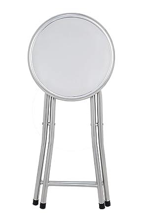 La Silla Española Palma Taburete Plegable Acolchado, Aluminio, Blanco, 30x30x45 cm