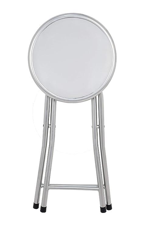 Sgabelli Pieghevoli Alluminio.La Sedia Spagna Palma Sgabello Pieghevole Imbottito Alluminio Bianco 30 X 30 X 45 Cm