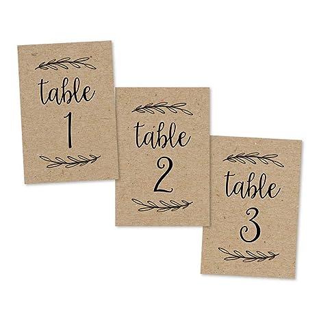Amazon.com: 1 – 25 números de mesa rústicos Kraft de doble ...