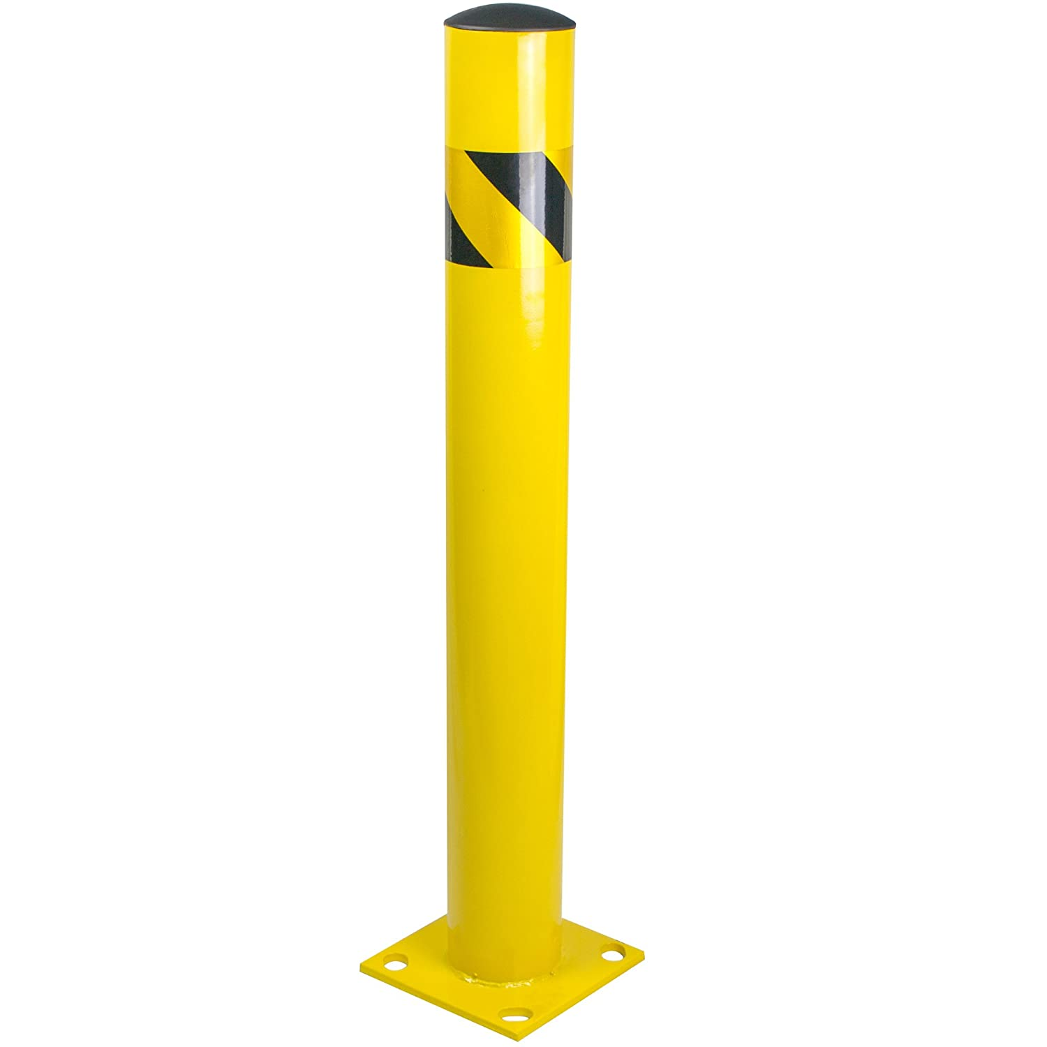"Bollard Post - Steel Safety Barrier Protection- Yellow Powder Coat 4.5"" Diameter 36"" Tall BW4536"