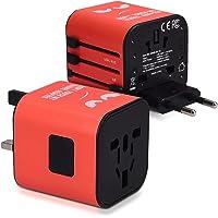 kwmobile Universal Travel Adapter voor 150 landen - Power Adapter Plug Europe UK Australia USA - World Travel Plug Red…