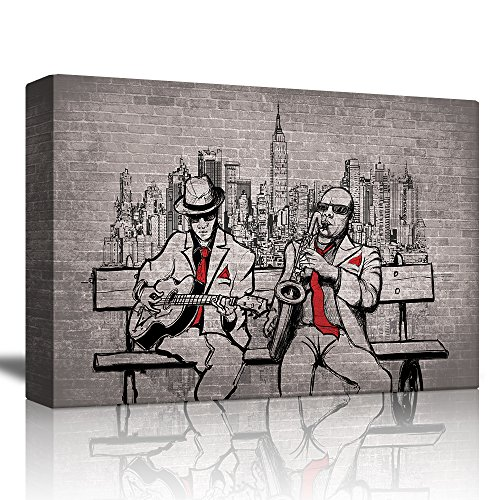 wall26 - Two Men Playing Instruments on a Bench Looking Over The City with a Brick Background - Canvas Art Home Decor - 32x48 inches ()