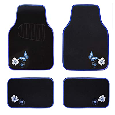 CAR PASS-Universal Fit Embroidery Butterfly and Flower Car Floor Mats,Universal fit for suvs,Trucks,sedans,Vans,Set of 4(Black with Blue): Automotive