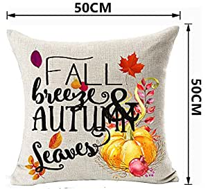 Holiday Maple Leaf Pumpkin Happy Thanksgiving Fall Breeze And Autumn Leaves Happy Fall Y'all Cotton Linen Decorative Home Office Throw Pillow Case Cushion Cover Square 20 X 20 Inches