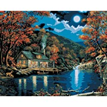 Plaid Creates Paint by Number Kit (16 by 20-Inch), 21690 Lakeside Cabin