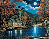 Plaid Paint by Number Kit (16 by 20-Inch), 21690 Lakeside Cabin Picture