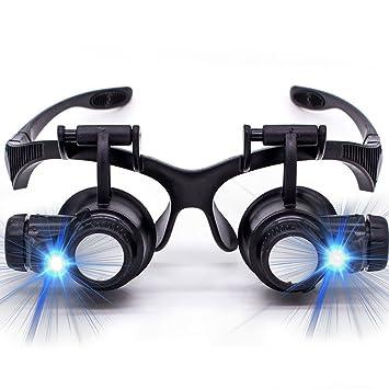c0c73383f Oculos Lupa Cabeça 8 Lentes Led Alto Brilho Até 25x Aumento: Amazon ...
