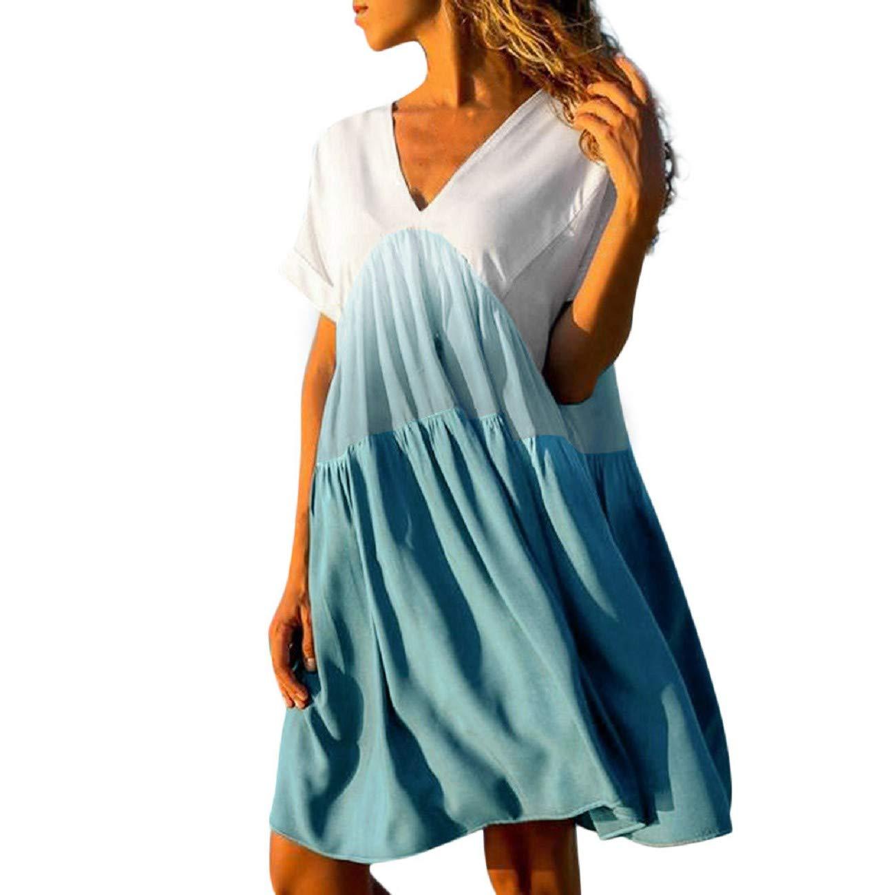 Womens Casual Short Dress Patchwork Gradient Color V-Neck Short Sleeve Mini Dress Ruffled Loose Swing Dress by FAPIZI Blue
