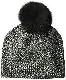Sofia Cashmere Women's Cashmere Fur Pom Hat-Chunky, Black Marl, One