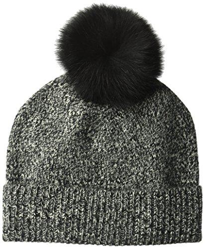 Sofia Cashmere Women's Cashmere Fur Pom Hat-Chunky, Black Marl, One by Sofia Cashmere