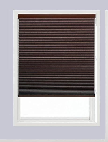 Linen Avenue U6ch1850b48 Custom Cordless 18 1 2 W X 42 To 48 H Chocolate Blackout Cellular Shade Home Kitchen