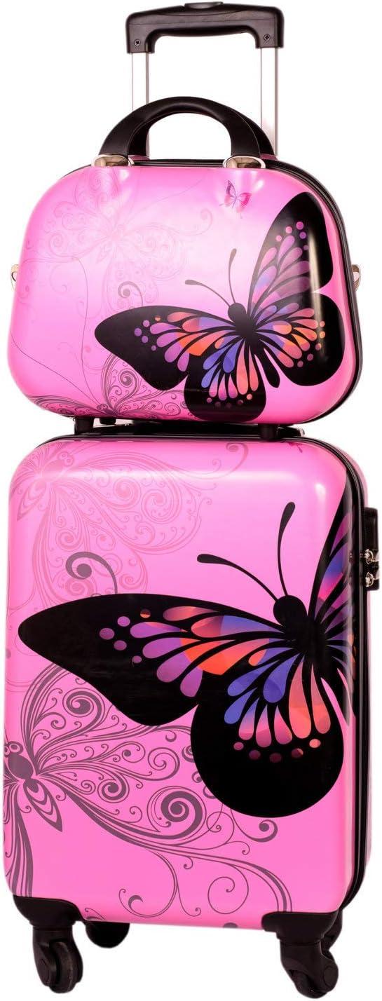 Maleta Cabina con Neceser Mariposa Rosa, Maleta 55x35x20 cm y Neceser 35x28x14 cm