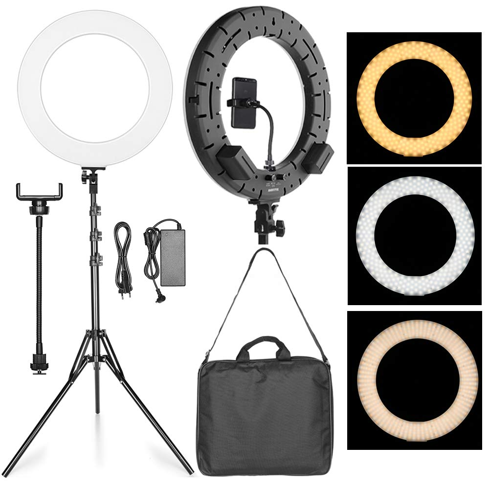 AMBITFUL RL-480 18'' 45cm Dimmable LED Ring Light Lamp 60Ws 3000~6000K 480 Beads LED with 180cm Light Stand,Carrying Bag for Photo Video Lighting Kit (Black)