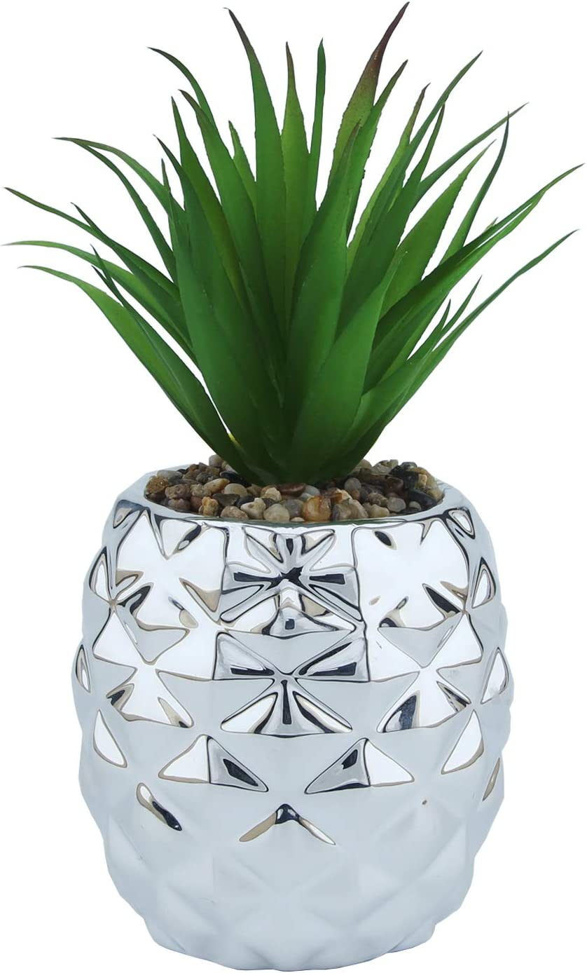 Kimdio Ceramic Potted Artificial Succulent Decoration Fake Pineapple Plant Home Decor Tabletop Office Desk Outdoor Decoration - Silver