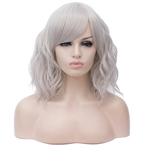 Falamka - Peluca de cosplay para mujer, longitud media, rizada, ondulada, colorida