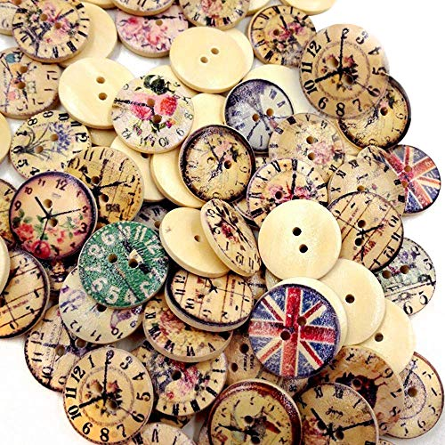 AnFun 50 Pieces Wooden Clock Buttons New Vintage Style Popular Wood Button 2-Hole 20mm Mixed Colorized for Sewing Accessories Scrapbooking and DIY Craft (Style A - 50 Pieces)